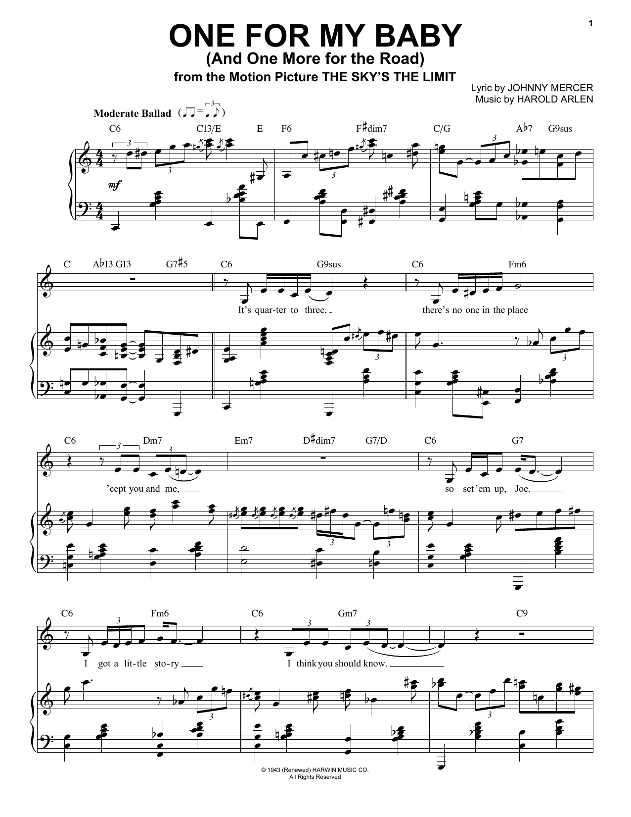 One For My Baby (And One More For The Road) Sheet Music