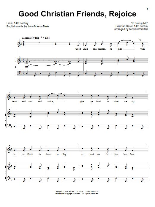 Partition piano Good Christian Men, Rejoice de Christmas Carol - Piano Voix