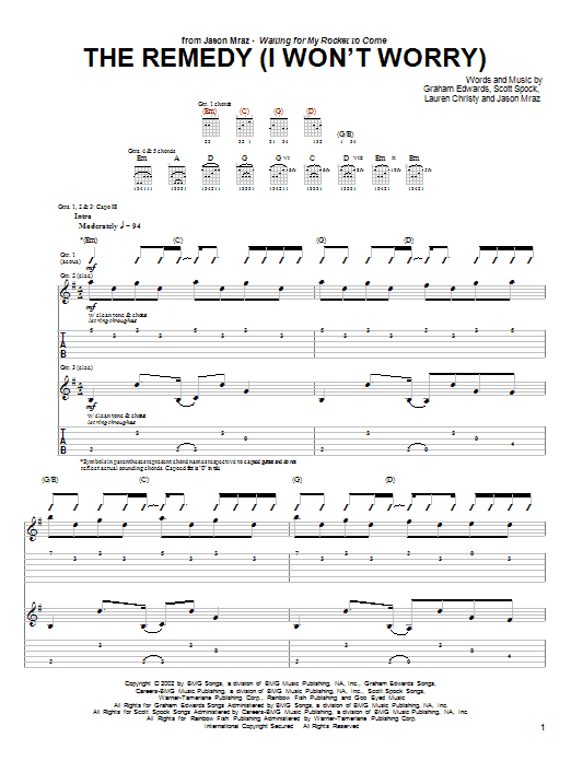 Tablature guitare The Remedy (I Won't Worry) de Jason Mraz - Tablature Guitare