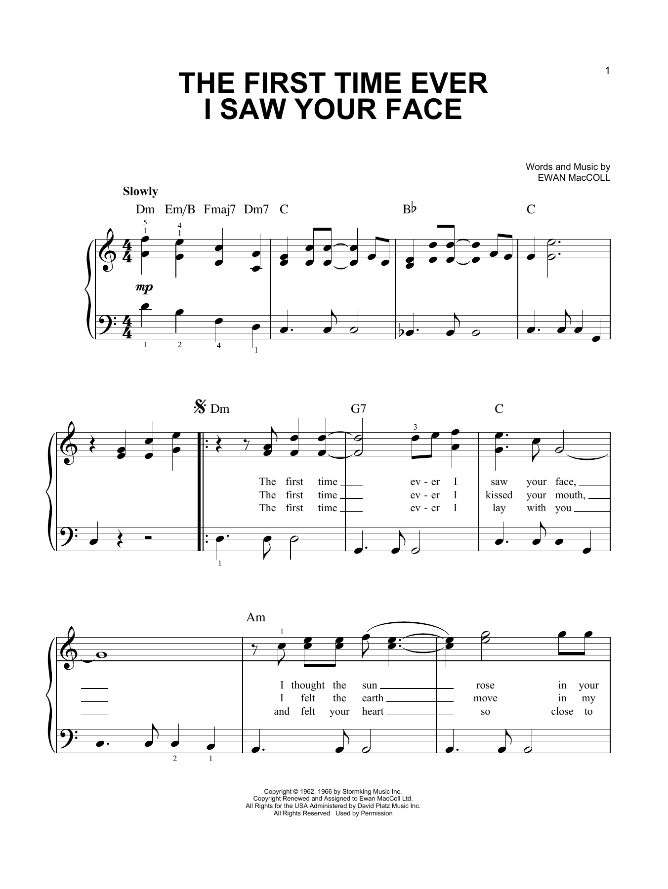 The First Time Ever I Saw Your Face (Easy Piano)