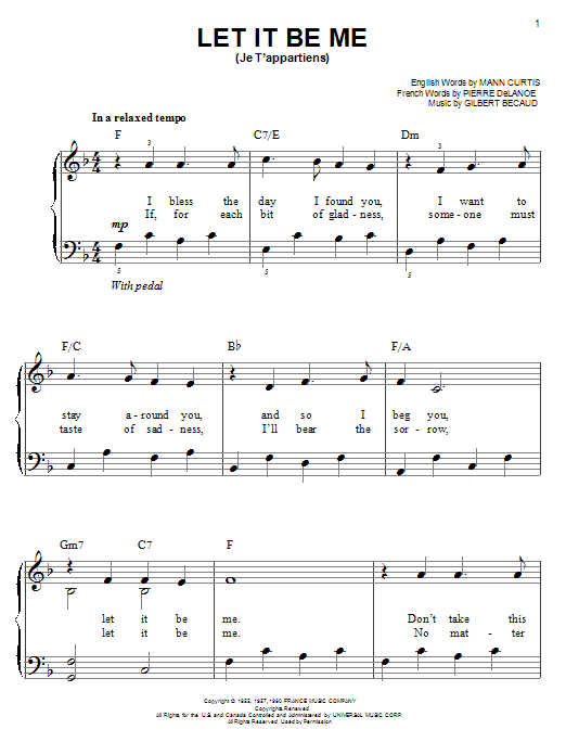 Partition piano Let It Be Me (Je T'appartiens) de Elvis Presley - Piano Facile