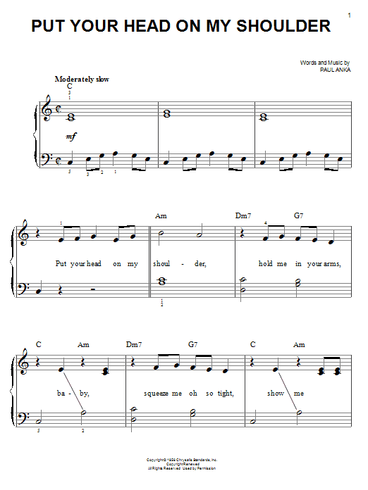 Put Your Head On My Shoulder (Easy Piano)