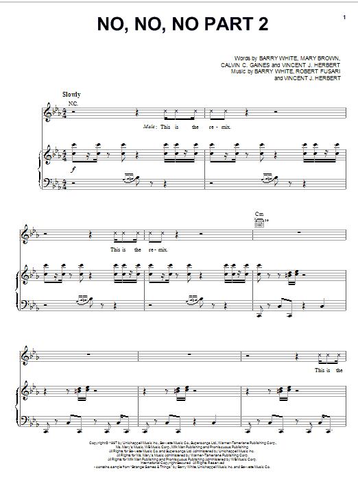 No, No, No Part II (Piano, Vocal & Guitar (Right-Hand Melody))