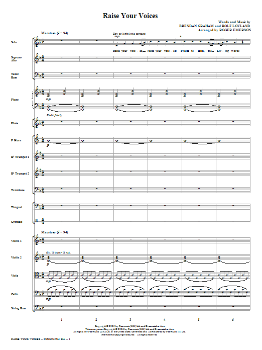 Raise Your Voices (complete set of parts) sheet music for orchestra/band (Orchestra) by Roger Emerson, Brendan Graham, Rolf Lovland and Secret Garden. Score Image Preview.