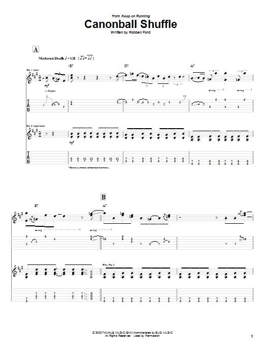 Tablature guitare Cannonball Shuffle de Robben Ford - Tablature Guitare