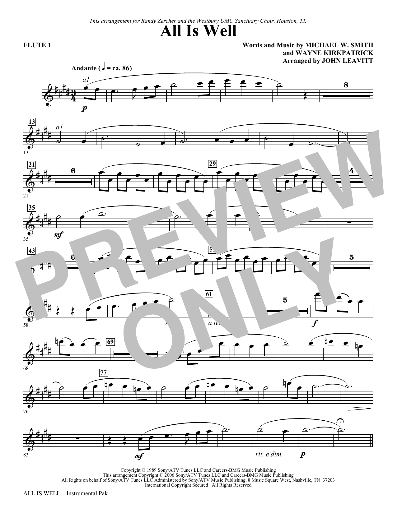 All Is Well - Flute 1 Sheet Music