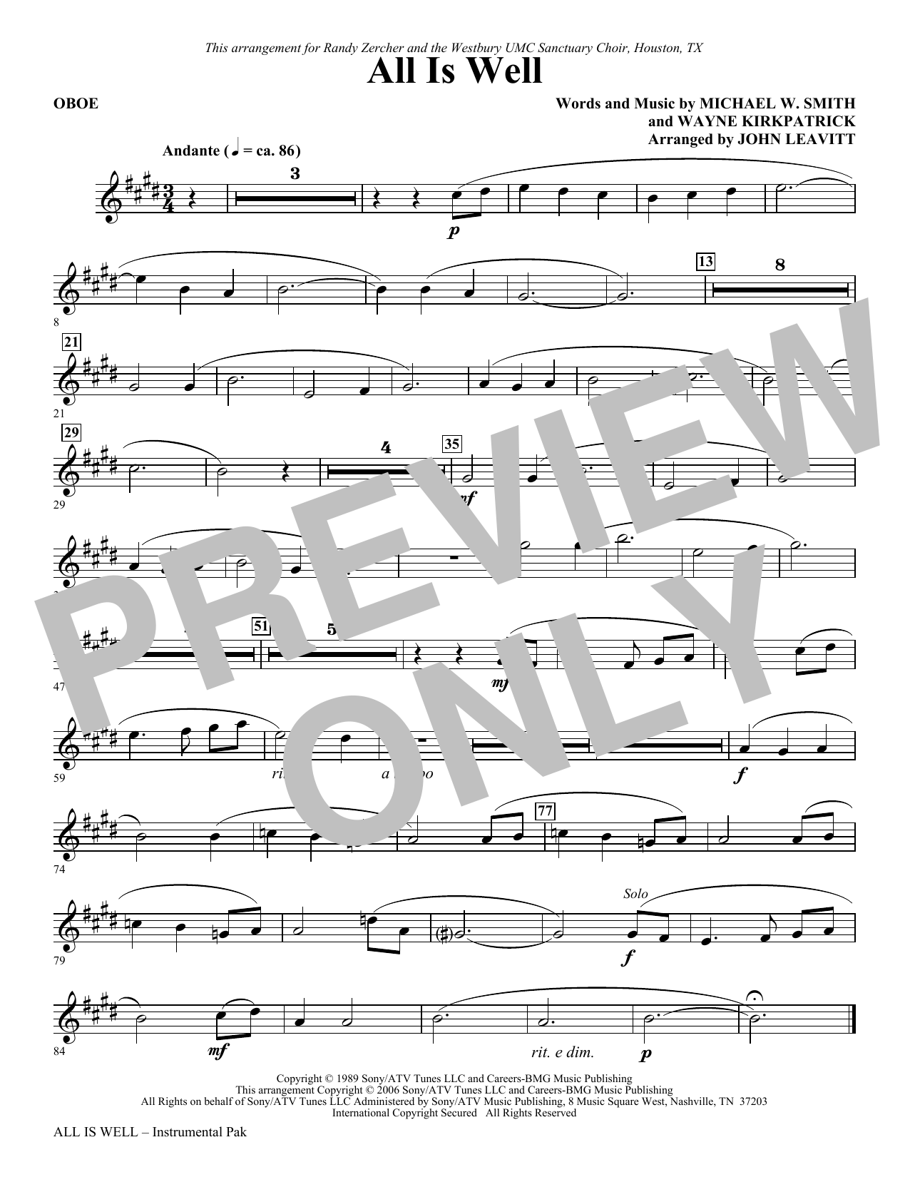 All Is Well - Oboe Sheet Music