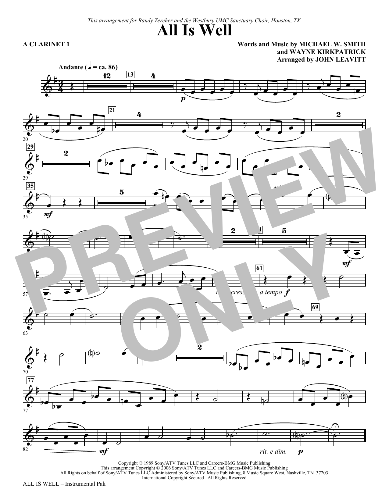 All Is Well - A Clarinet 1 Sheet Music