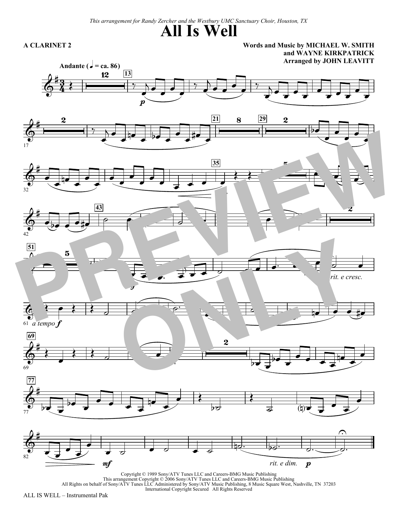 All Is Well - A Clarinet 2 Sheet Music