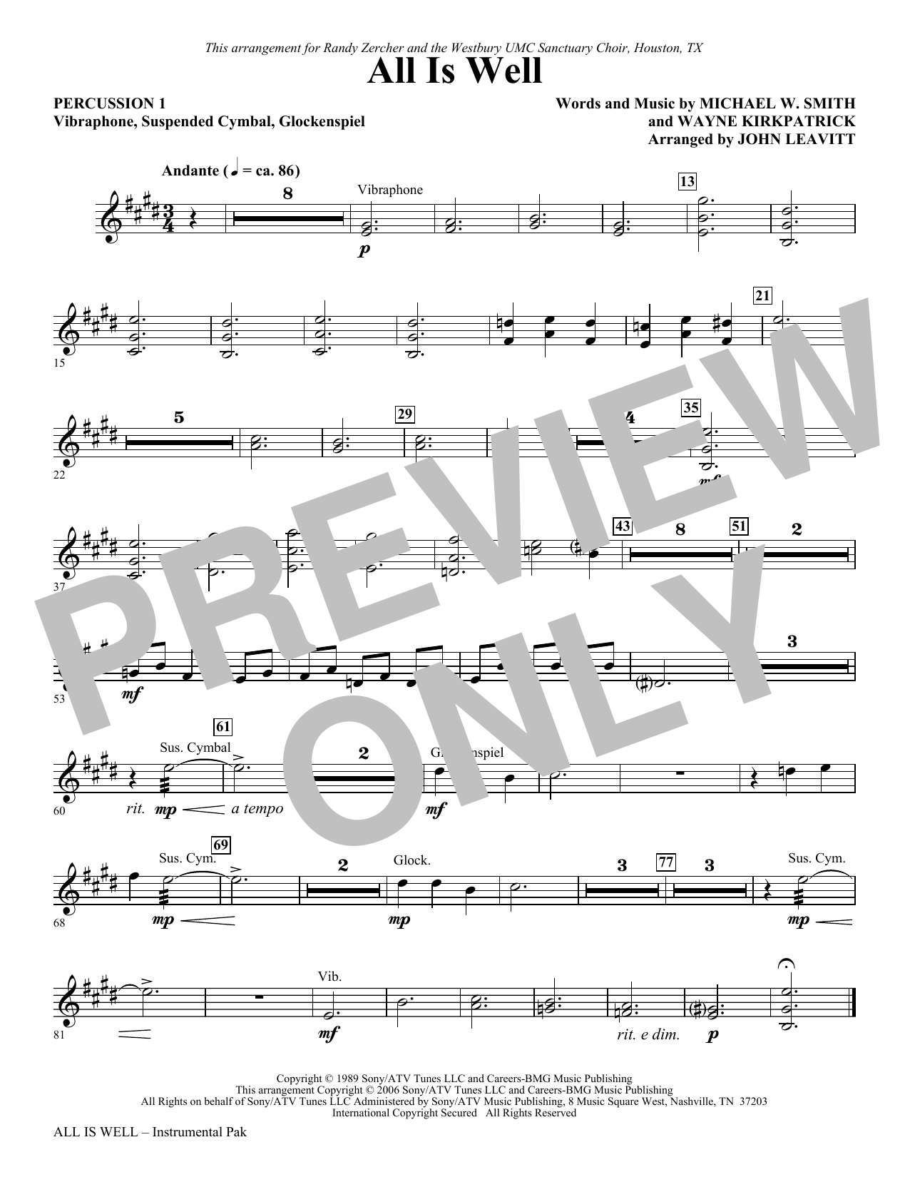 All Is Well - Percussion 1 Sheet Music