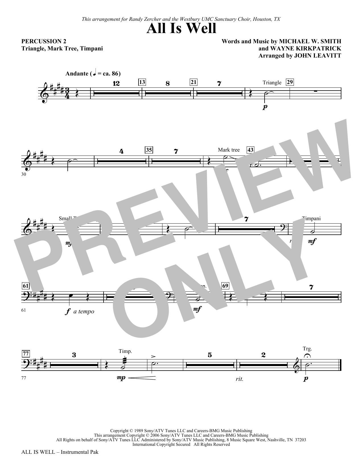 All Is Well - Percussion 2 Sheet Music