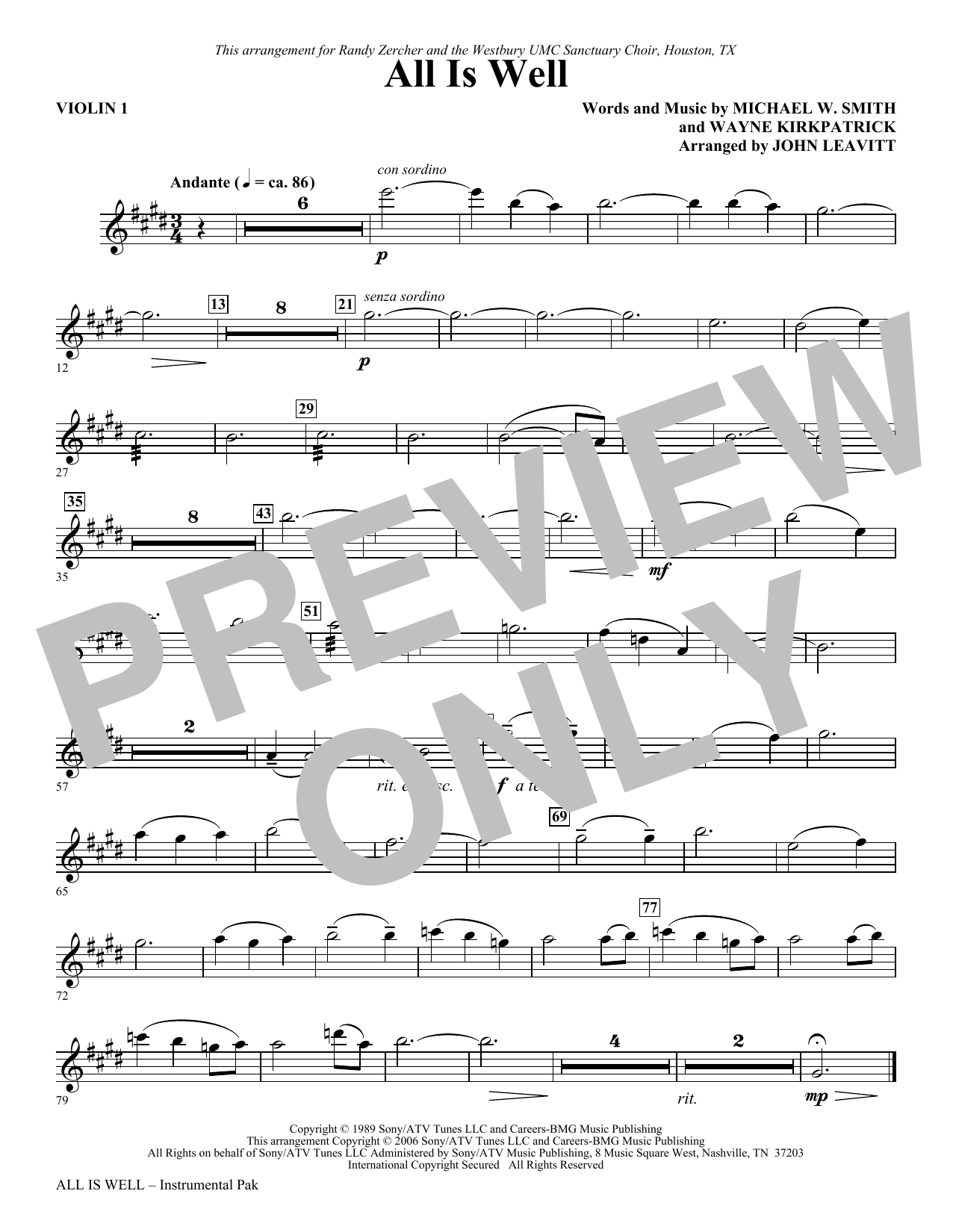 All Is Well - Violin 1 Sheet Music