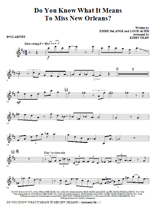 Do You Know What It Means to Miss New Orleans - Bb Clarinet Sheet Music
