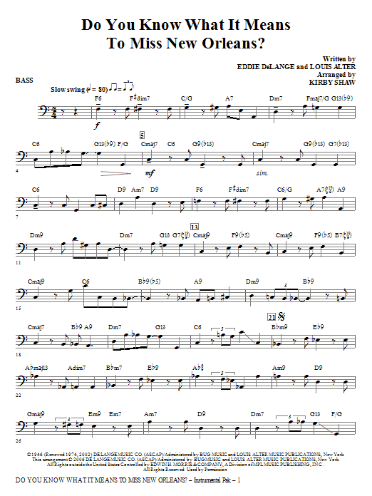 Do You Know What It Means to Miss New Orleans - Bass Sheet Music