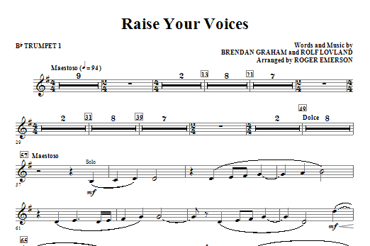 Raise Your Voices - Bb Trumpet 1 Sheet Music