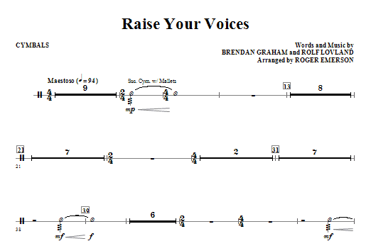 Raise Your Voices - Cymbals Sheet Music