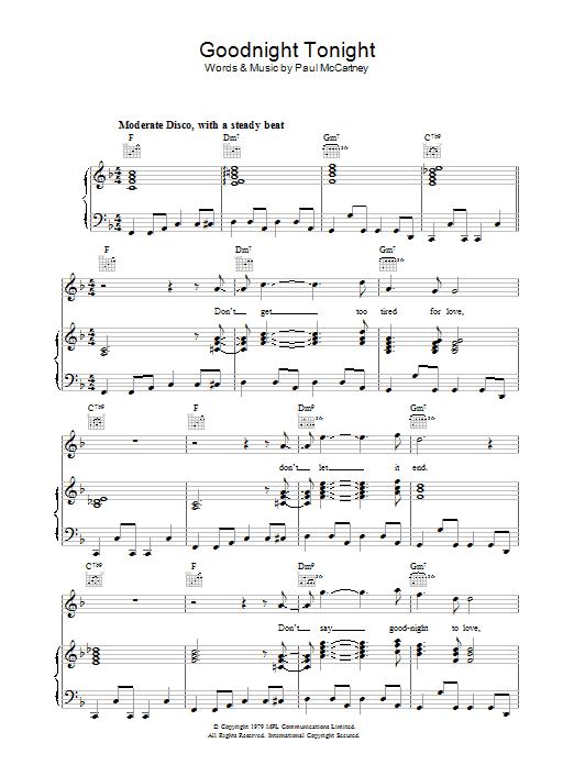 Goodnight Tonight (Piano, Vocal & Guitar)