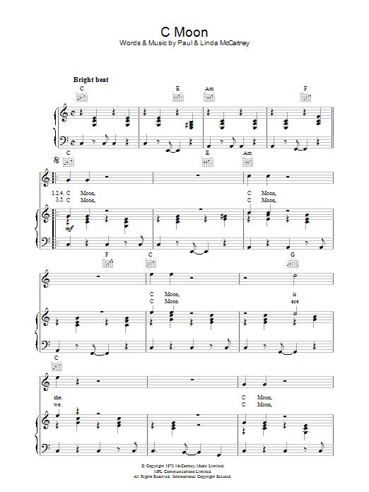 C Moon (Piano, Vocal & Guitar)
