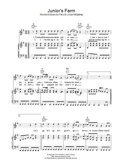 Junior's Farm (Piano, Vocal & Guitar)