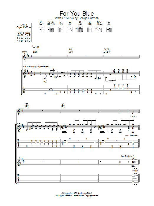 For You Blue (Guitar Tab)