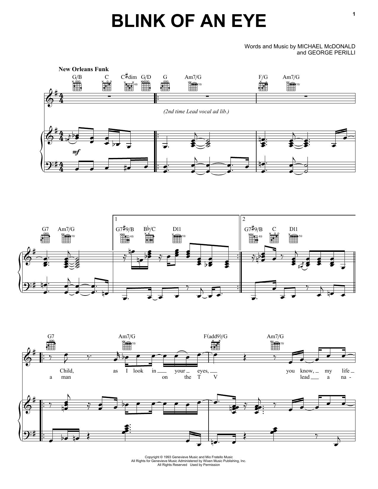 Partition piano Blink Of An Eye de Michael McDonald - Piano Voix Guitare (Mélodie Main Droite)