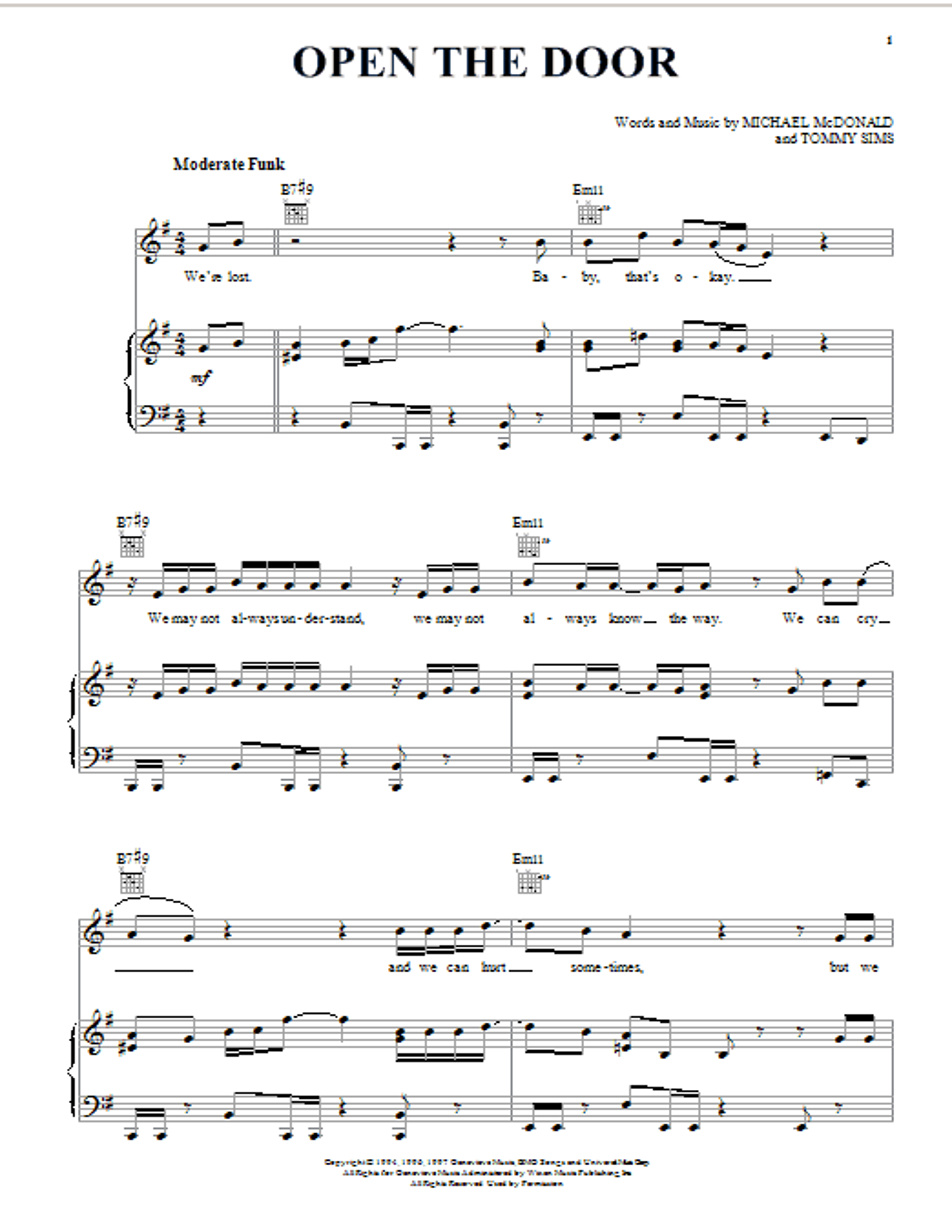 Partition piano Open The Door de Michael McDonald - Piano Voix Guitare (Mélodie Main Droite)