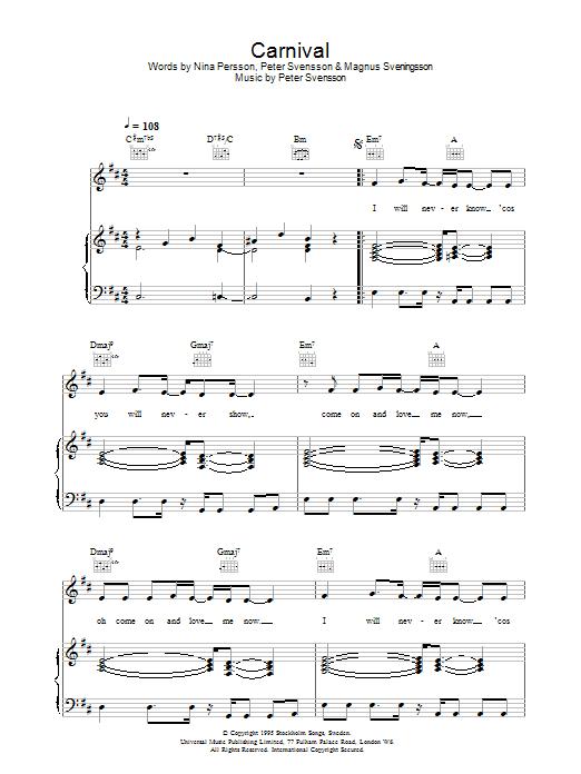Carnival (Piano, Vocal & Guitar)