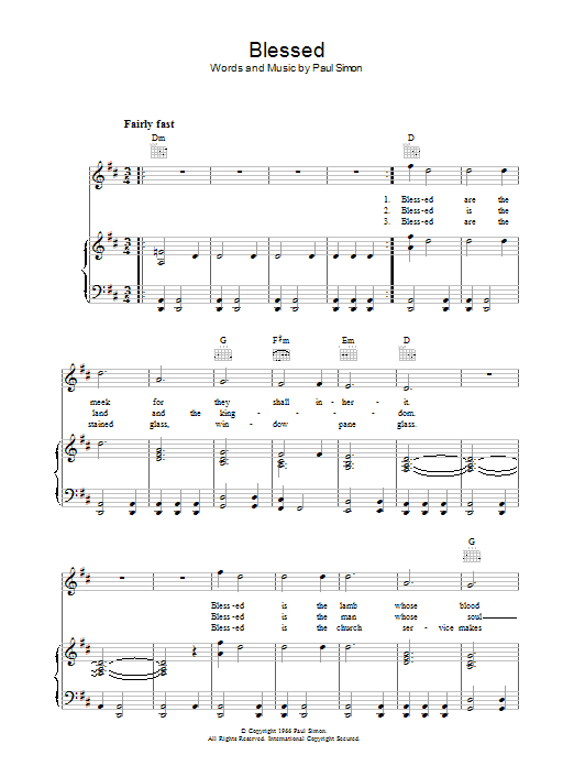 Blessed Sheet Music