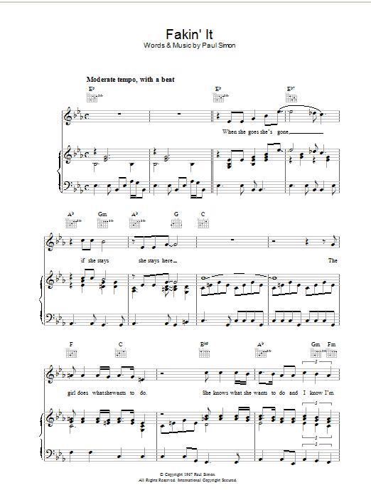 Fakin' It (Piano, Vocal & Guitar)