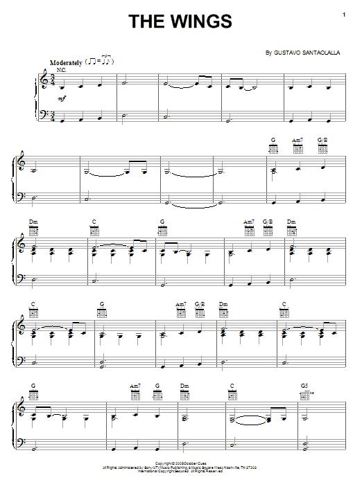 Partition piano The Wings (from Brokeback Mountain) de Gustavo Santaolalla - Piano Solo
