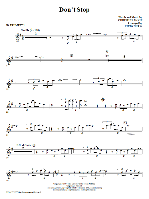 Don't Stop (complete set of parts) sheet music for orchestra/band (chamber ensemble) by Kirby Shaw, Christine McVie and Fleetwood Mac. Score Image Preview.