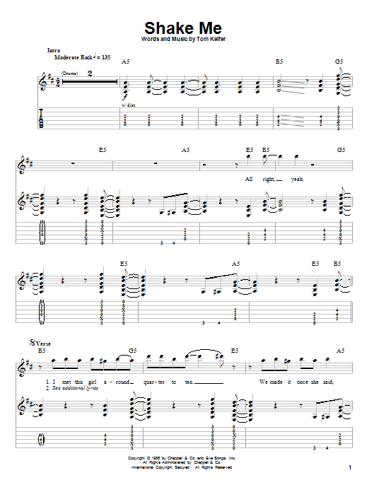 Shake Me (Guitar Tab (Single Guitar))