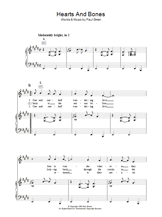 Hearts And Bones (Piano, Vocal & Guitar)