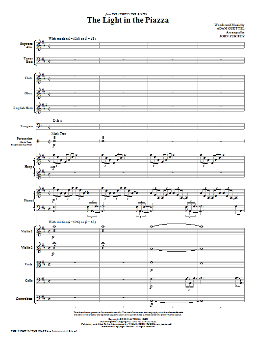 The Light In The Piazza (complete set of parts) sheet music for orchestra/band (chamber ensemble) by John Purifoy and Adam Guettel. Score Image Preview.
