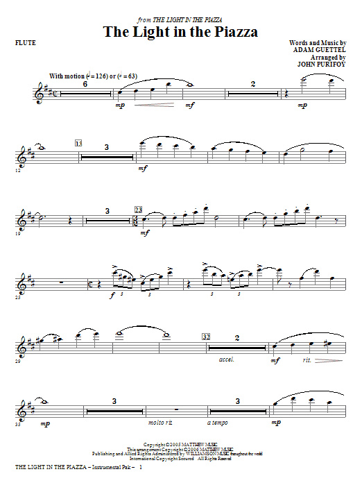 The Light In The Piazza - Flute Sheet Music