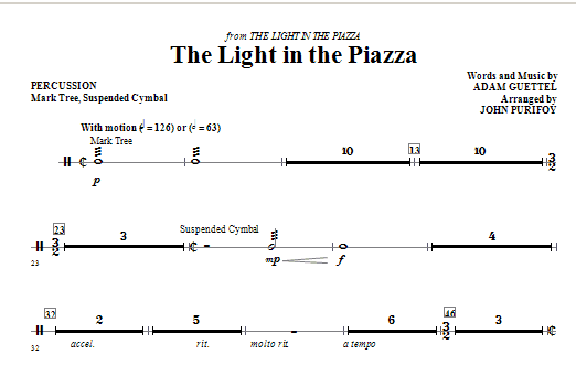 The Light In The Piazza - Percussion Sheet Music