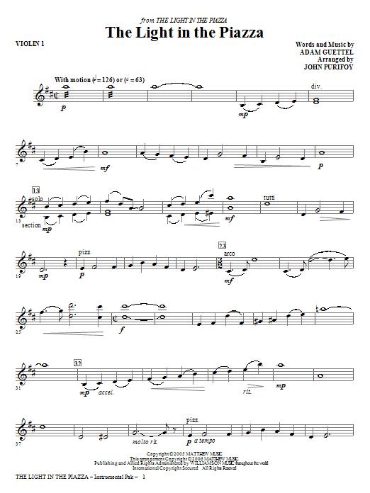 The Light In The Piazza - Violin 1 (Choir Instrumental Pak)