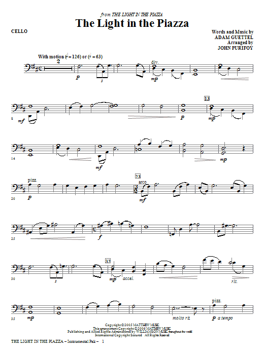 The Light In The Piazza - Cello Sheet Music