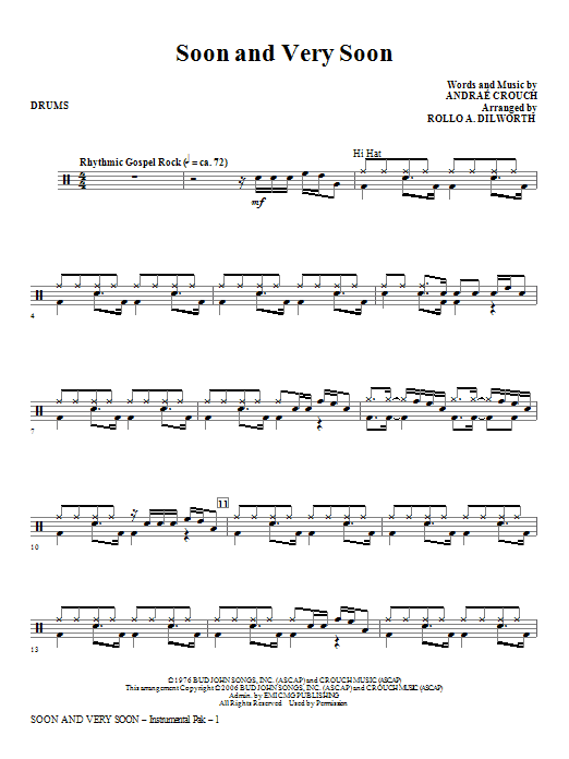 Soon And Very Soon - Drums Sheet Music