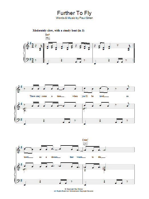 Further To Fly (Piano, Vocal & Guitar)