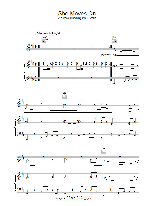 She Moves On (Piano, Vocal & Guitar)