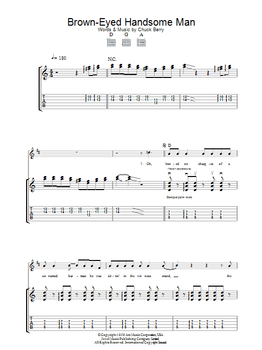 Brown Eyed Handsome Man (Guitar Tab)