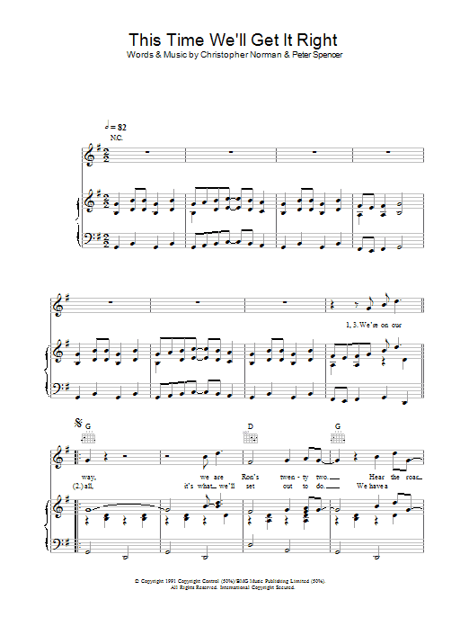 This Time (We'll Get It Right) (Piano, Vocal & Guitar)