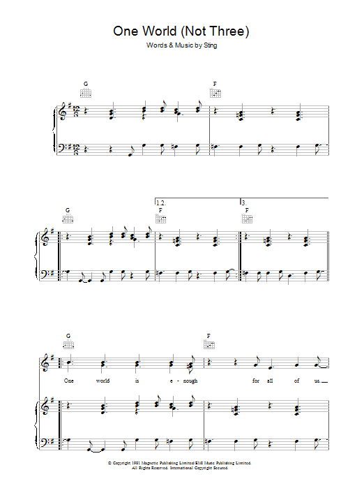 One World (Not Three) (Piano, Vocal & Guitar)