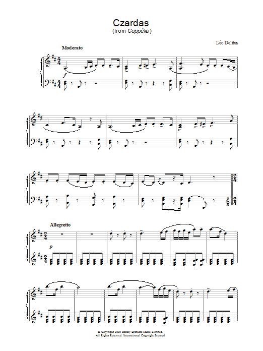 Czardas (from Coppelia) Sheet Music