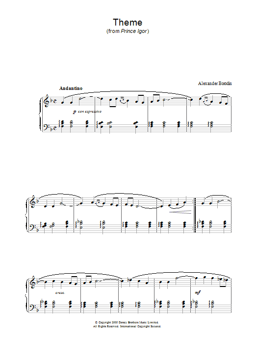 Theme From Prince Igor (Piano Solo)