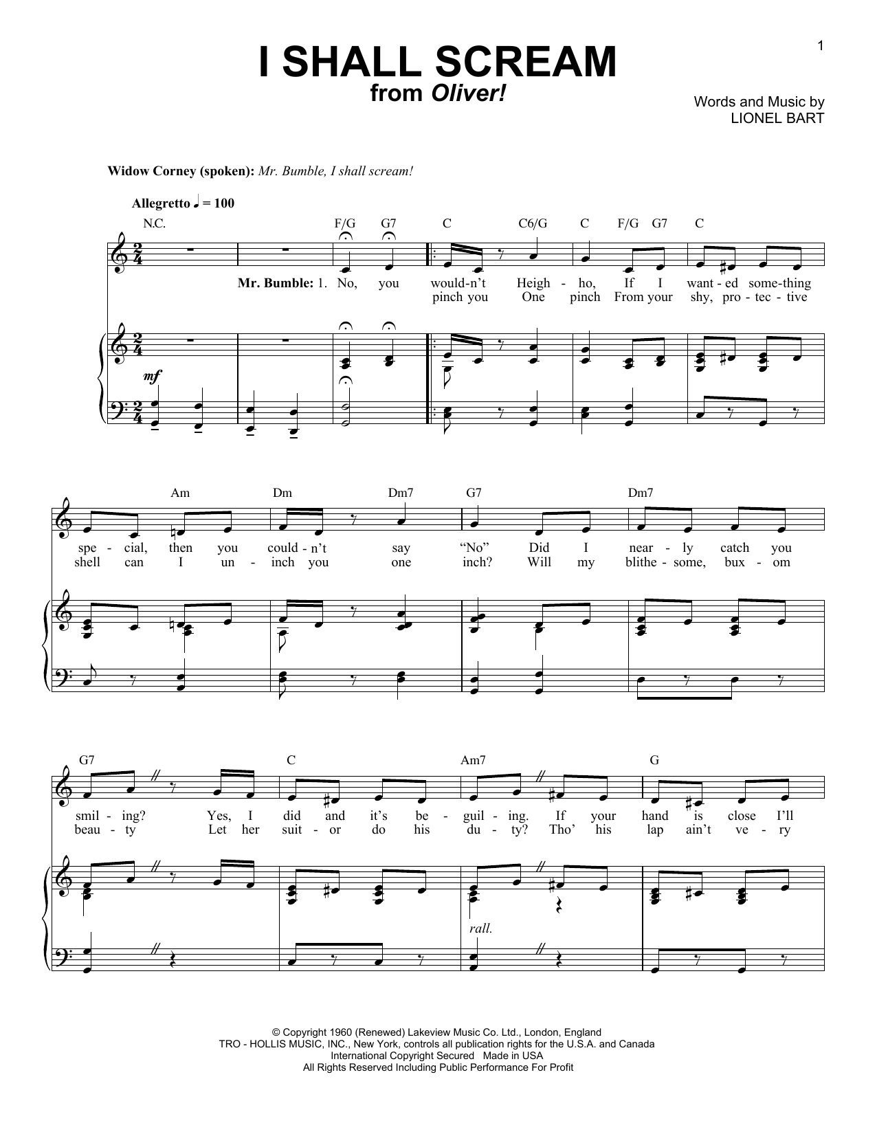 Partition piano I Shall Scream de Lionel Bart - Piano Voix