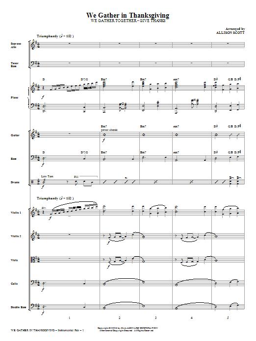 We Gather in Thanksgiving - Full Score Sheet Music