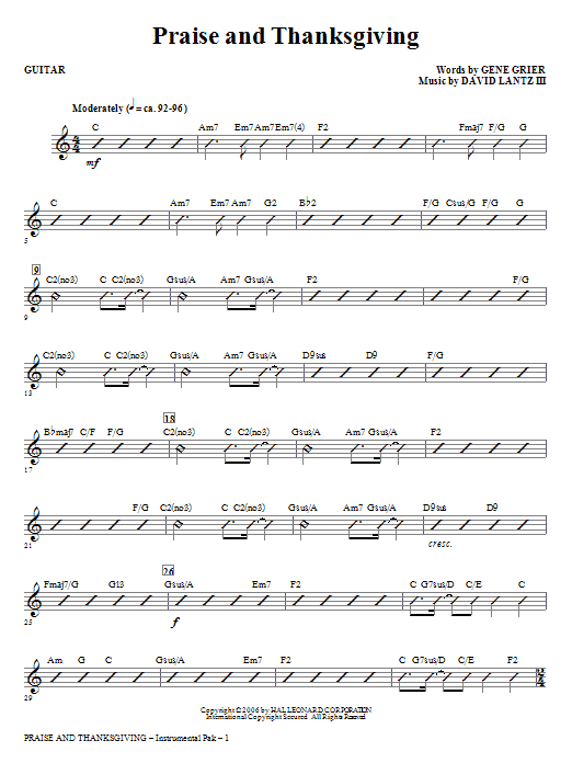 Praise And Thanksgiving (complete set of parts) sheet music for orchestra/band (Rhythm) by David Lantz and Gene Grier. Score Image Preview.
