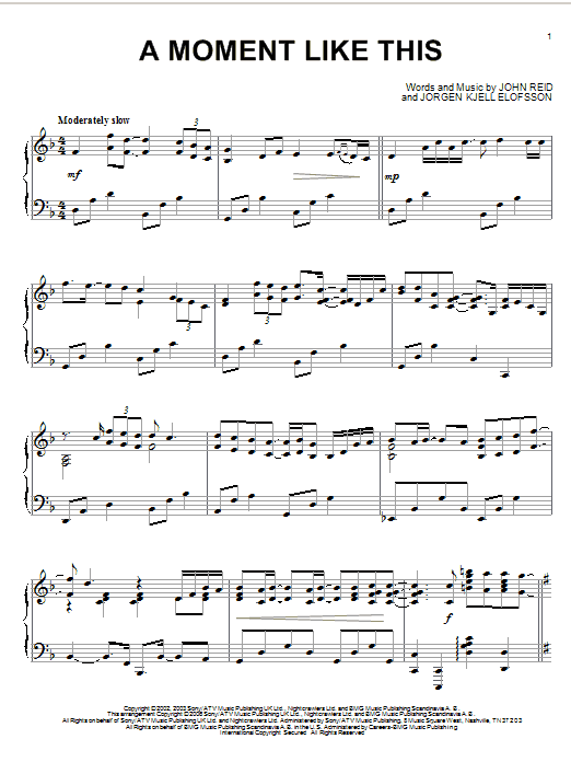 A Moment Like This Sheet Music
